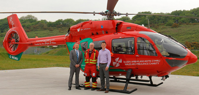 Aled Williams, Managing Director of Days Fleet with Doctor Ian Bowler and James Stephens of Wales Air Ambulance